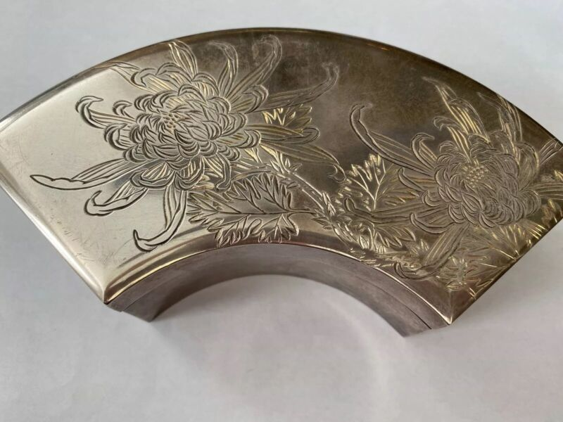 Vintage Signed Toyokoki Japanese 970 Silver Etched Scroll Curved Case Box 0420