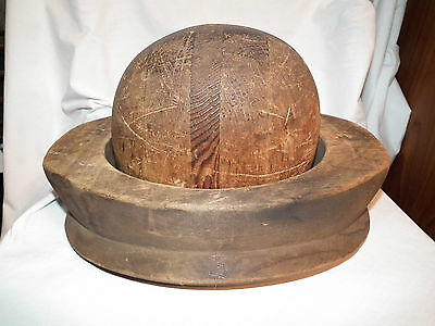 Antique Wooden Bowler Hat Millinery Form Mould Industrial Steampunk Mannequin
