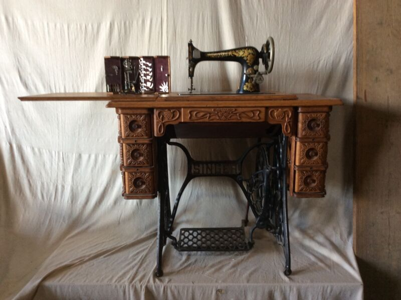 Antique Singer Sewing Machine #27, Arts & Crafts Treadle Table with Puzzle Box