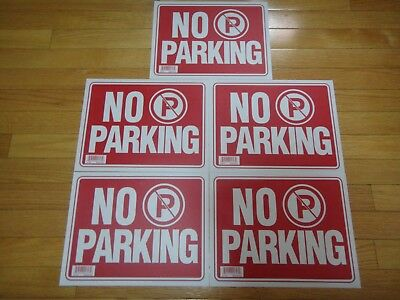 5x- Red White Flexible Plastic No Parking Sign 9 X 12 Inch Us Seller