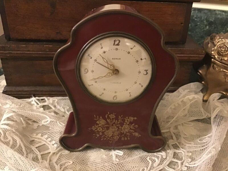 Vintage Swiss semca  7 jewels musical alarm clock wind up Working