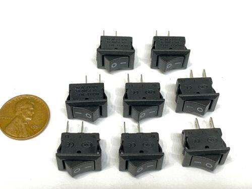 8 Pieces Black Rocker switch 15mm x 10mm 6a 2pin mini on off spst kdc1 12v b22