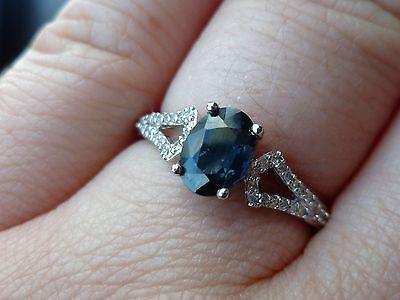 NEW 1ct Deep Blue Natural Sapphire & Diamond Solitaire Ring- 14k White Gold Sz (Deep Blue Sapphire Diamond)