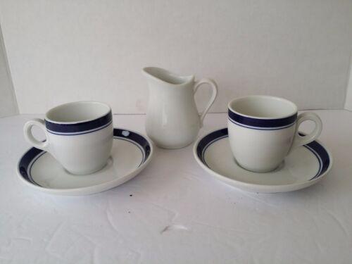 Vintage PILLIVUYT  FRANCE BLUE DEMITASSE COFFEE CUPS SAUCERS APILCO CREAMER