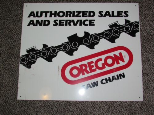 """Vintage Oregon Saw Chain Authorized Sales and Service Metal Sign 24"""" X 21"""""""