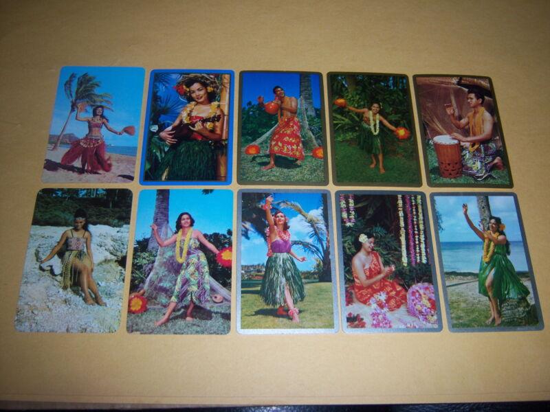 (10) single HULA GIRLS playing cards--vintage 1950