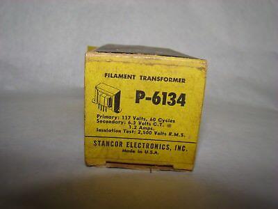Vintage Stancor P6134 Filament Transformer Pri 117 Vac Sec 6.3v1.2a Nos