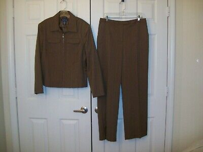 Evan-Picone brown striped polyester blend striped pant suit size 12/14