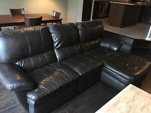 Two piece leather couch