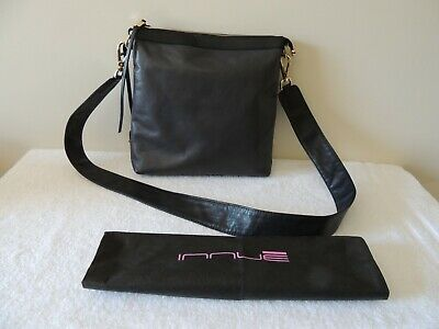 Innue soft leather cross body hand bag, gray/taupe/black, made in Italy, new