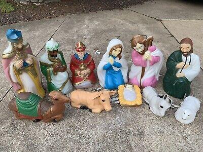 Vintage Christmas Blow Mold Nativity Scene General Foam 11 Piece Outdoor Set