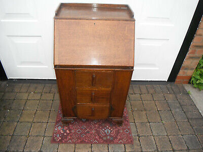 Oak Bureau 1930s/40s. Side shelves.No key.COLLECTION ONLY Stockport (SK4)