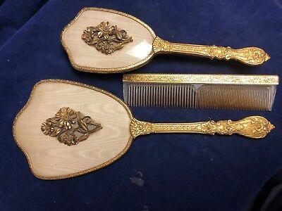 Vintage Adult Woman Gold Vanity Mirror Comb Brush Set Globe Art Deco Daisy 24k (Adult Vanity)