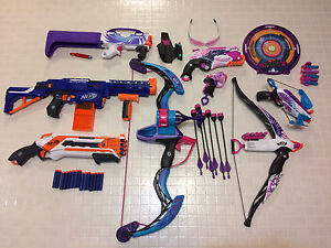 Nerf guns, bow and arrows, crossbow lot