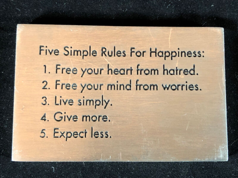 """5 Five Simple Rules For Happiness Pewter Paperweight Made by Vilmain 2.5"""""""