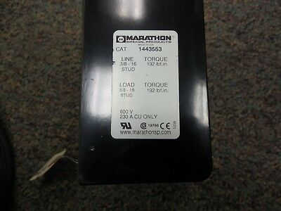 Marathon1443553 Power Distribution Block 144 Series 600v 230a Cu Only.