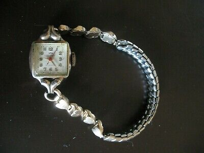 Waltham 17 Jewel Ladies Watch Hearts Band Swiss Movement - Runs Intermittently