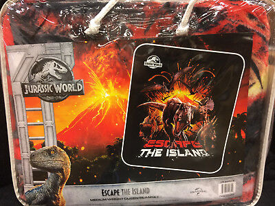 Jurassic World Park 2 Escape The Island Dino Dinosaur Queen Size Blanket NEW