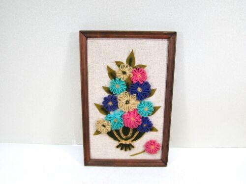 Vintage Yarn Flowers Vase Artwork Needlework Wood Frame