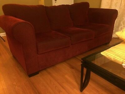 Red Sofa From Wayfair In Good Condition With Pillows