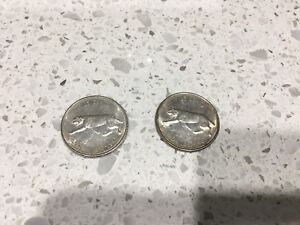 2x 25 cents coins 1967 Canada
