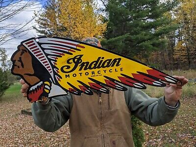 LG 1950'S VINTAGE OLD INDIAN MOTORCYCLES PORCELAIN ENAMEL SIGN HEADBAND DIE CUT