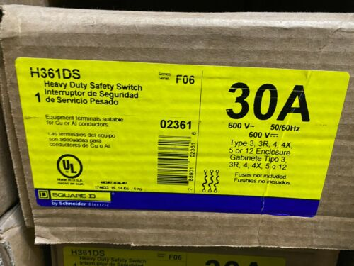 Square D H361DS Fusible Stainless Steal Safety Switch 30 Amp 600 Volt 3P