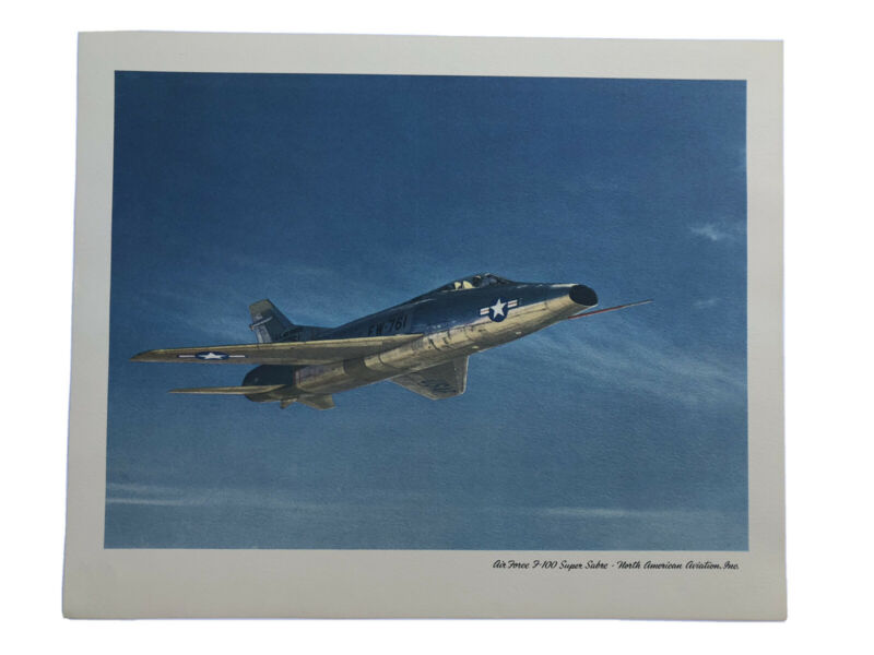 VINTAGE NORTH AMERICAN AVIATION PHOTO PRINT US AIR FORCE F-100 SUPER SABRE