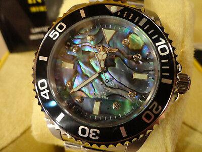 Invicta 32928 Pro Diver 47mm 0.03 Carat Diamond Bl/Gr Abalone Bracelet Watch NEW