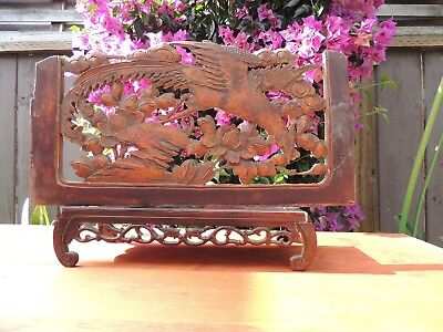 867. Antique Carved Gold Gilt Wood Panel with Phoenix Bird