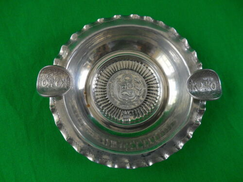 """Peruvian Sterling Silver Ashtray ~ 3 coins (1899, 1914 & 1916) ~ 3 7/8"""" ~ 63g"""