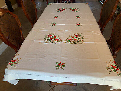 Christmas Large Dining Room tablecloth   Hand embroidery # Z-25
