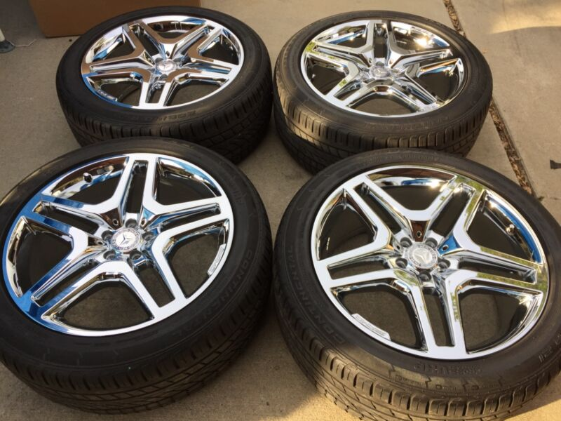 "21"" NEW OEM FACTORY 15 MERCEDES GL63 GL550 GL450 GL350 AMG CHROMED WHEELS TIRES."