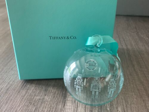 Tiffany & Co Christmas Blue Glass Crystal NUTCRACKER New w/ Box Holiday RARE