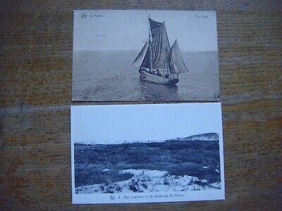 Lot de 2 cartes de DE PANNE - LA PANNE --- Bateau voilier au large - Dunes