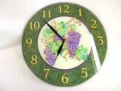 Wall Clock Vintage Glass Kate Beetle 10 Round Grapes Green Purple Gold Numbered