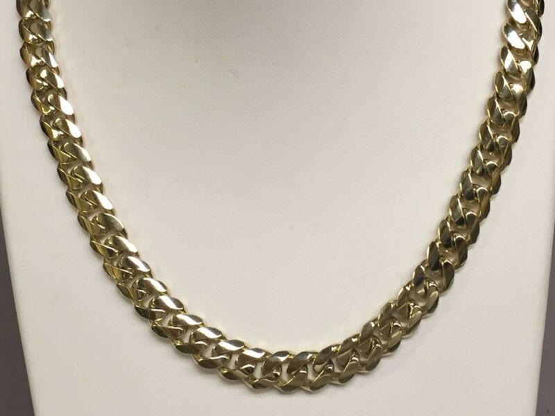 "14k Solid Gold Miami Cuban Curb Link 24"" 9 Mm 135 Grams Chain/necklace Mc250"