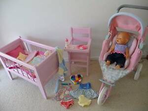 WOODEN DOLL'S COT, HIGHCHAIR, BABY BORN DOLL AND STROLLER Sinnamon Park Brisbane South West Preview