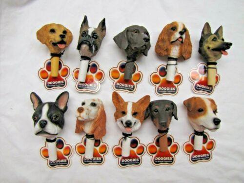 NOS 10pc Detailed Puppy Dog Bust Heads ART DOOGIES Bottle Stopper Finial Emblems