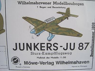 Junkers Ju 87 Kampfflugzeug Flugzeug Wilhelmshavener Modellbaubogen Bastelbogen
