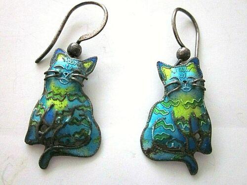 CAT EARRINGS Illegibly Designer Signed Enamel on Metal