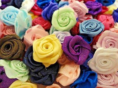 Multi-Color Ribbon Rose Flowers DIY Wedding DIY Craft Applique Scrapbook 100pcs