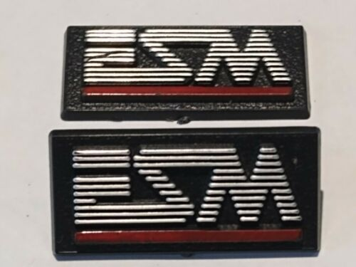 Two Vintage ESM Speaker Badge Decal Logo
