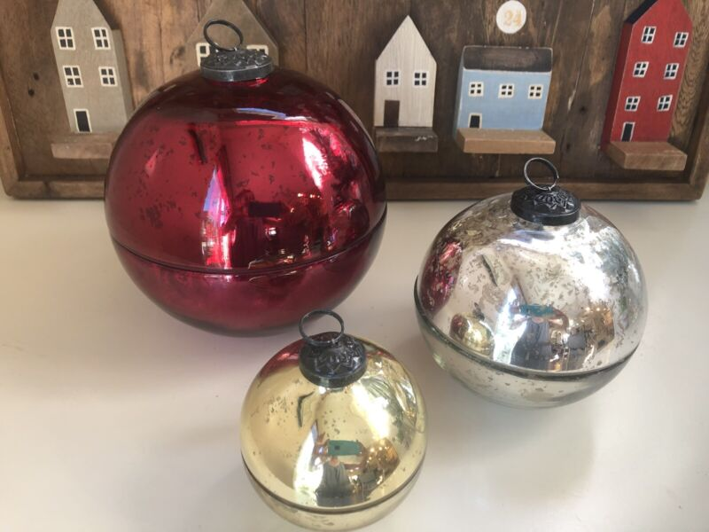 Pottery Barn Ornament Candle Large Red Medium Silver Small Gold Christmas Decor