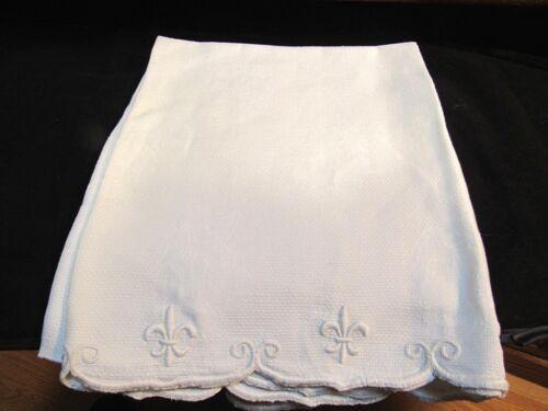 Antique Huge White Huck Bath Hand Towel Embroidered Fleur de lis Ends Roses