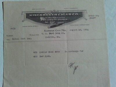 RARE 1922 LETTER HEAD AD KINGSBAKER CIGAR CO. TOBACCO PIPES KANSAS CITY MISSOURI