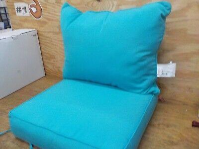 Outdoor 24-Inch 2-Piece Deep Seat Chair Cushion in Sunbrella® Canvas Cyan