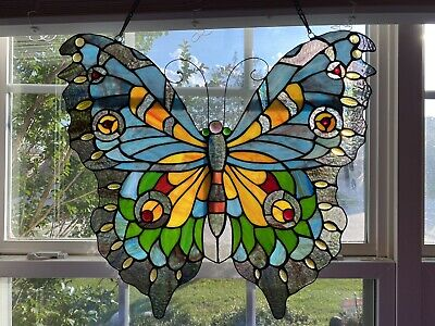 """Beautiful Butterfly Stained Glass Window Panel 20""""x22"""""""