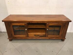 Excellent quality rustic style solid wooden TV unit with metal runners