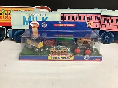 THOMAS & FRIENDS WOODEN ~ PEG & STACK ~ CREATIVE JUNCTION ~ ABSOLUTELY MINT NIB!